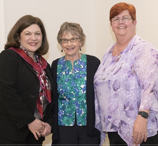 Ginger Dries volunteer of year with Christine Schuster and Janet Davis